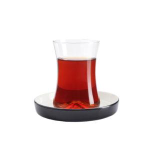 Teeglas und Unterteller schwarz 130 ml 6er Set
