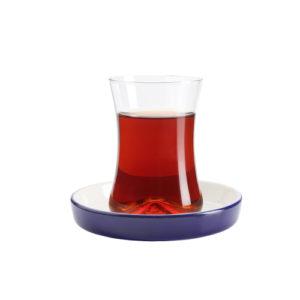 Teeglas und Unterteller Kobalt 130 ml 6er Set