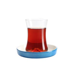 Teeglas und Unterteller blau 130 ml 6er Set
