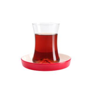 Teeglas und Unterteller rot 130 ml 6er Set