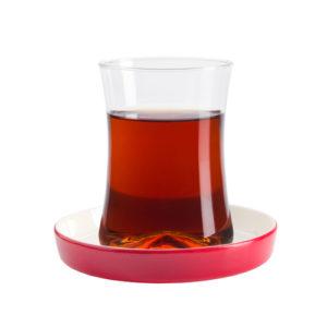 Teeglas und Unterteller rot 190 ml 6er Set