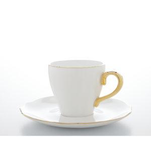 Espresso/Mokka Tasse und Unterteller aus Porzellan mit goldener Verzierung 90 ml 6er Set