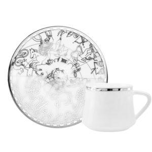 Espresso/ Mokka Tasse und Unterteller aus Porzellan mit silberner Verzierung Zeitalter der Entdecker 90 ml 6er Set