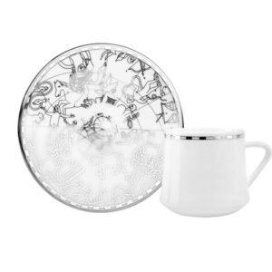 Kaffee-/Tee-Tasse und Unterteller aus Porzellan mit silberner Verzierung Zeitalter der Entdecker 230 ml 6er Set