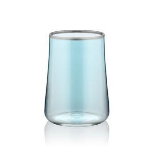 Kleines Wasserglas zum Kaffee blau mit Platinrand stilvoll 120 ml 6er Set