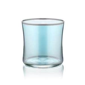 Wasserglas klein blau mit Platinrand 250 ml 6er Set