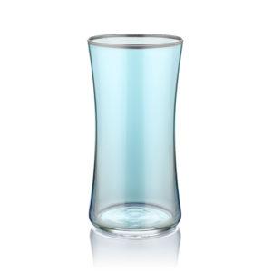 Wasserglas blau mit Platinrand 300 ml 6er Set
