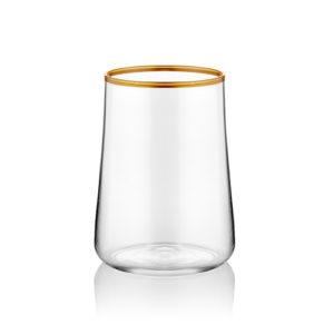 Kleines Wasserglas zum Kaffee transparent stilvoll mit Goldrand 120ml 6er Set