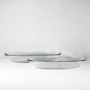 Ovaler Servierteller tief glasklar 2er Set