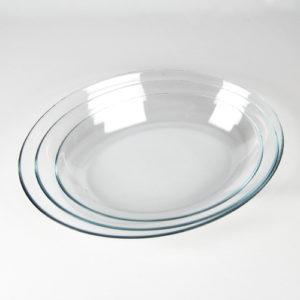 Ovale Servierteller tief glasklar 3er Set