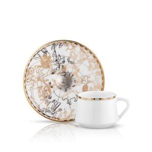 9832-Espresso-/Mokka - Tasse und Unterteller aus Porzellan mit goldener Verzierung Zeitalter der Entdecker 90 ml 6er Set