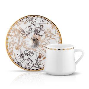 Kaffee- / Tee-Tasse und Unterteller aus Porzellan mit goldener Verzierung Zeitalter der Entdecker 230 ml 6er Set