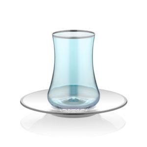 Teeglas blau und Unterteller mit Platinrand 165 ml 6er Set