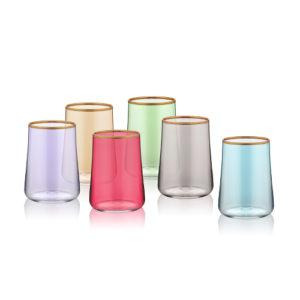 Kleine Wassergläser zum Kaffee verschiedenfarbig mit Goldrand 120 ml 6er Set