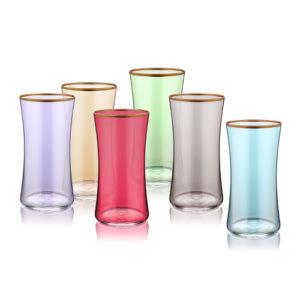 Wassergläser verschiedenfarbig mit Goldrand 300 ml 6er Set