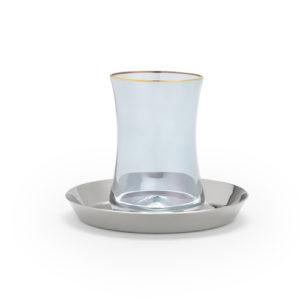 Teeglas blau und Unterteller Silber mit Goldverzierung edel hochwertig 130 ml 6er Set