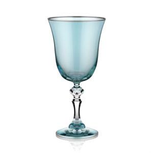 Kelchgläser blau mit Platinrand 220 ml 6er Set