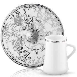 9835: 31000027889 Espresso: Mokka Tasse und Untertasse aus Porzellan mit silberner Verzierung