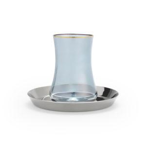 Teeglas blau und Unterteller in Silber