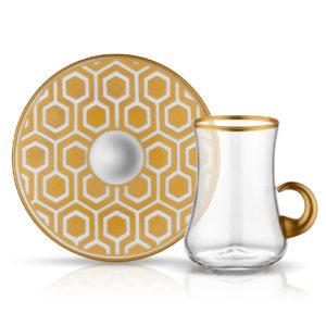 1461158670-40515_dervish-kulplupetek_01-9658-teeglas-mit-goldenem-henkel-und-unterteller-im-goldenen-bienenwabebmuster-130-ml-6er-set